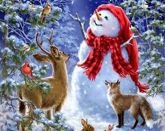 "Starry Night Snowman & Animals 24"" Christmas Panel // Timeless Treasures PANELDG-C7589  MULTI"