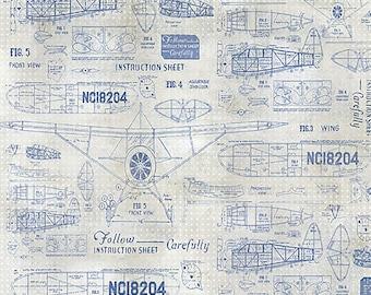 Tim Holtz Model Airplane Fabric // FreeSpirit PWTH050.8BLUE by the Half Yard