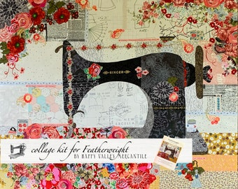 Collage Quilt Kit FEATHERWEIGHT Collage for Laura Heine's Collage Pattern FBWHFEATHER // Certified Laura Heine Instructor