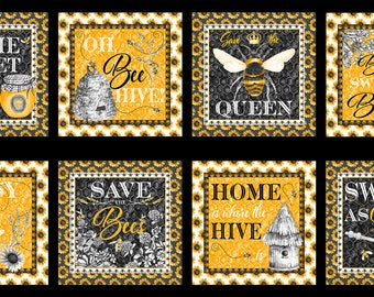 """Show Me The Honey Bee Blocks 23"""" Fabric Panel // Blank Quilting 1337-44 Yellow"""