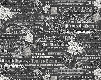 London Text & Stamps Word Fabric // Whistler Studios // Windham Fabrics 52344-3 by the HALF YARD