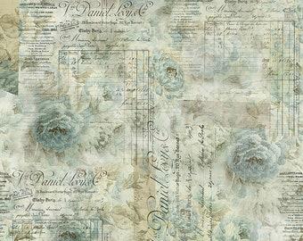 Tim Holtz Foundations Receipt Fabric // FreeSpirit PWTH102.AQUA by the Half Yard