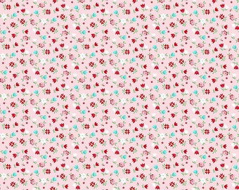 A Little Sweetness Stretch Jersey Calico Floral Knit Fabric by Tasha Noel for Riley Blake Designs K6512 Pink by the Half Yard