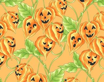 Spellcaster's Garden Jack O' Lantern Vine Fabric // Maywood Studio MAS9813-O by the Half Yard