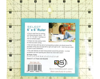 """Quilter's Select Non Slip 6"""" x 6"""" Ruler // Alex Anderson QS-RUL6X6"""