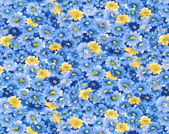 Oasis Blue Packed Floral Fabric // Keepsake Calico 7572-B by the Half Yard