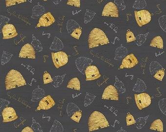 Bee's Life Beehives Charcoal Bee Fabric // Riley Blake Designs C10101 by the HALF YARD