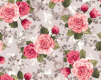 Rose Garden Toile Roses Fabric // Quilting Treasures 27589-K by the HALF YARD