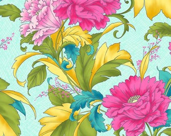 Dianthus Teal Bold Floral Fabric by Paintbrush Studio 120-99401 by the Half Yard