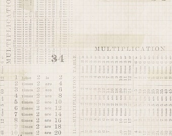Tim Holtz Monochrome Multiplication Table Fabric // FreeSpirit PWTH106.PARCHMENT by the Half Yard