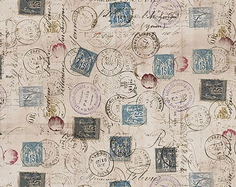 Tim Holtz Foundations Postage Fabric // FreeSpirit PWTH021.TAUPE by the Half Yard