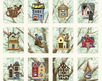 """Beautiful Birds Housing Boom 24""""x22"""" Quilt Panel by Tracy Lizotte for Elizabeth's Studio 4319 CREAM"""