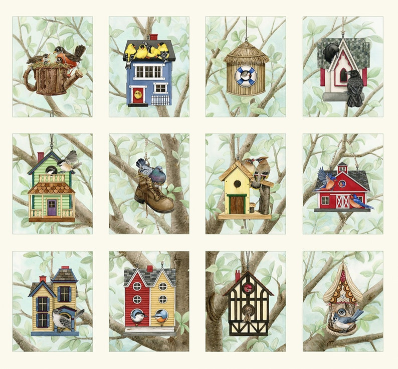 Beautiful Birds Housing Boom 24x22 Quilt Panel by Tracy Lizotte for Elizabeth/'s Studio 4319 CREAM
