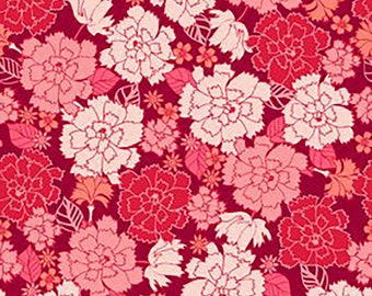Garden Delights Carnation Flowers Fabric // In The Beginning 4GSE-1 by the HALF YARD