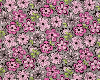 1/2 yd Madison Pink Grey Floral Fabric by Patty Reed Designs 12073-LZ