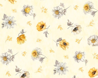Fields of Gold Floral Toss Fabric // Wilmington Prints 1409 86500 559 by the HALF YARD