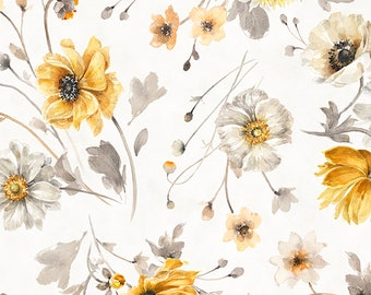 Fields of Gold Large Floral Fabric // Wilmington Prints 1409 86499 159 by the HALF YARD