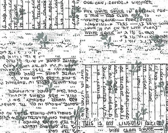 Norma Rose Recipe Cards Fabric // Windham Fabrics 52012-4 Grey by the  Half Yard
