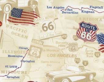 1/2 yd Get Your Kicks Route 66 Toile by Timeless Treasures Fabric C5414-TAN