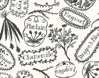 Spellcaster's Garden Plant Markers Fabric by Meg Hawkey for Maywood Studio by the Half Yard