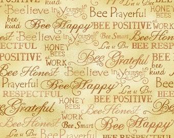 Bee Kind Happy Words Fabric // Paintbrush Studio by the Half Yard