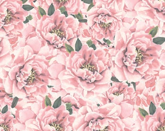 Forever Fashion Peonies Fabric by David Textiles DATWA-5502-8C-2 Pink by the Half Yard