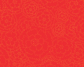 Bicycles and Blooms Floral Fabric Tone on Tone // Henry Glass #9878 88 Red by the Half Yard