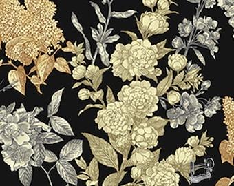 SALE Sew Vintage Etched Flower Garden Fabric //  Benartex 6019-12 by the Yard