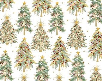 Shimmer & Sparkle Metallic Trees Fabric // 3 Wishes 16642-WHT-CTN-D by the HALF Yard
