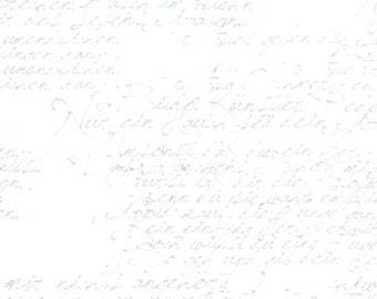 1/2 yd Modern Background Paper Basic Handwriting by Zen Chic for Moda Fabrics 1580 12 White