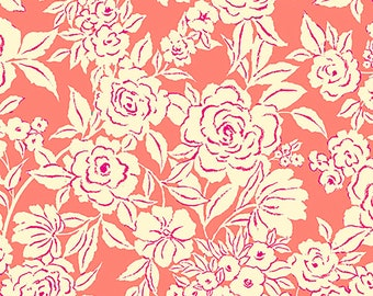 SALE Zola Etched Floral Fabric // Ink & Arrow // Quilting Treasures 26143-C by the YARD