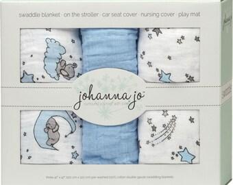 free shipping Shannon Embrace Double Gauze Swaddle 3 Pack Blue Stars SWAD3SMDBLUESTARS