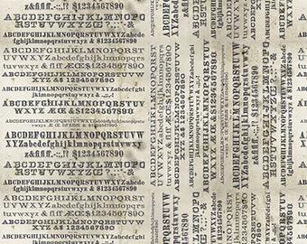 Tim Holtz Monochrome Typography Fabric // FreeSpirit PWTH175.PARCHMENT by the Half Yard