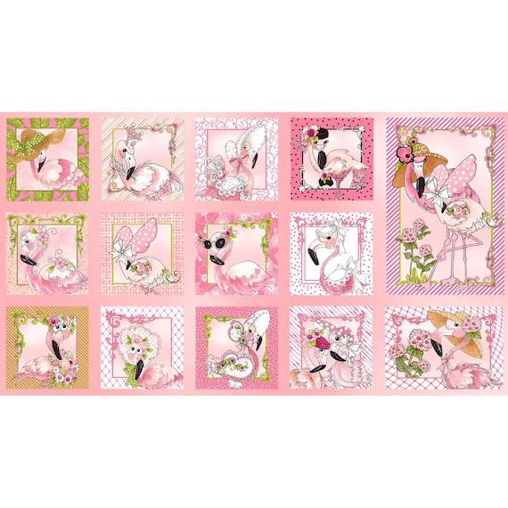 Loralie Designs Flamingo Fancy 24 Flams Panel Black
