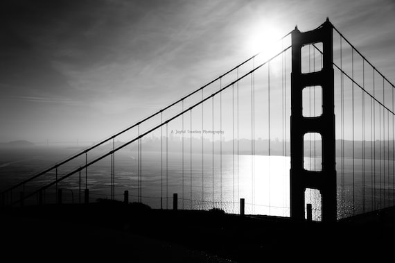 San Francisco Golden Gate Bridge Black And White Photograph California San Francisco Photo Golden Gate Bridge Photo Bridge Photo