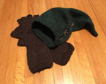 The Legend of Zelda Hand Knit Link Cosplay Costume Hat and Gloves