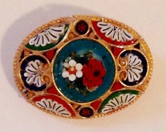 Mid Century Micro Mosaic Brooch