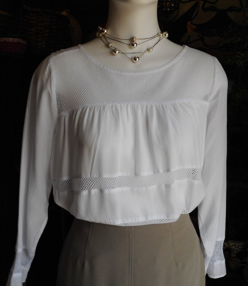 Perfect For Summer Pre Loved. Vintage White Tunic Blouse Modal and Cotton Mesh Make It Very Soft and Semi Sheer XS Size Will Fit S