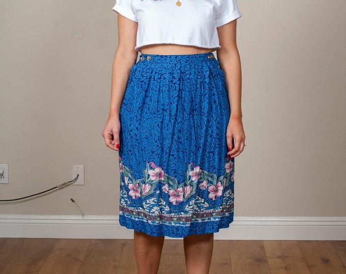 Vintage Blue Hawaiian Print Midi Skirt