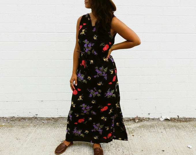 Vintage Black Floral Maxi Dress 90's Teacher Dress Tie Waist Purple Pink Yellow Flowers Sleeveless V-Neck