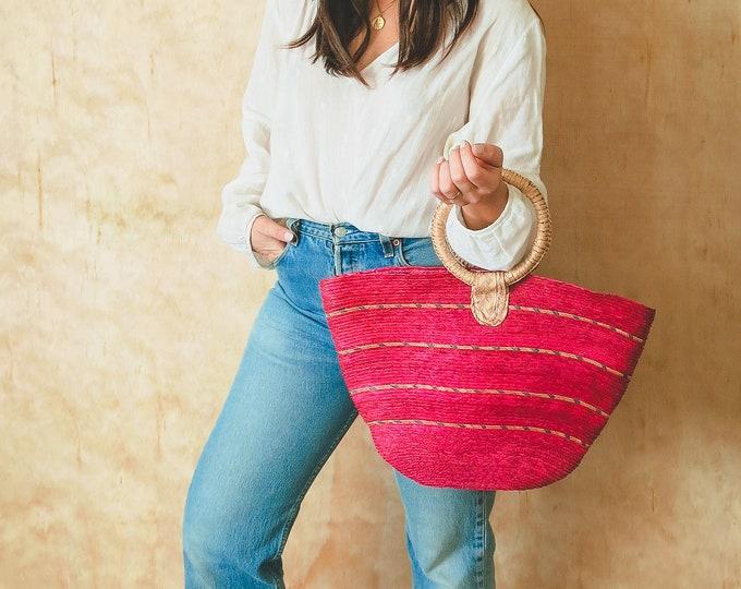 Vintage Pink Circle Handle Basket Bag