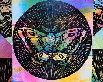 Moth Woodcut Print