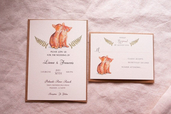 Printable Or Printed Cat Wedding Invitation Suite Kittens Etsy