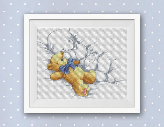 Bogo Free Sleeping Baby With Teddy Bear Cross Stitch Pattern Etsy