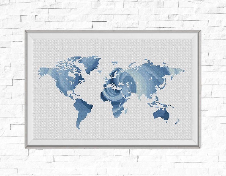 Bogo Free Map Cross Stitch Pattern World Map Silhouette Rose Etsy