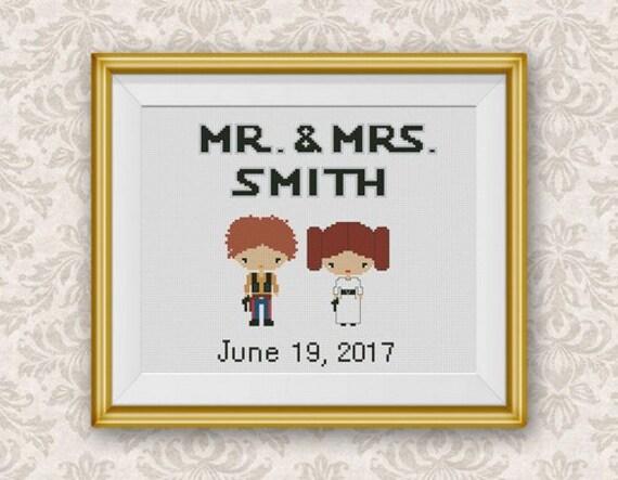 Wedding Gift Cross Stitch Pattern Star Wars Mini Pixel People  9044de44f