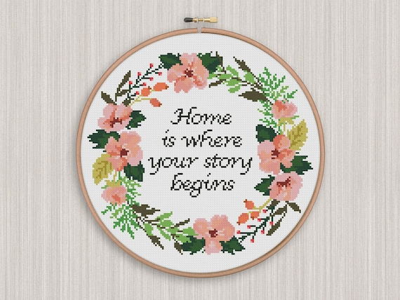 BOGO FREE Floral Wreath Cross Stitch Pattern Inspirational Quote Counted Cross Stitch Chart Home Modern Decor Instant Download 404040 Amazing Free Cross Stitch Patterns
