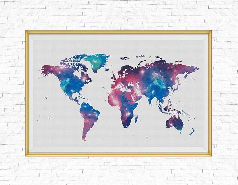 Bogo Free Galaxy World Map Cross Stitch Pattern World Map Etsy