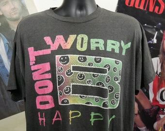 72276687f 80's Don't Worry B Happy Vintage Relaxed Lifestyle Slogan Classic Bobby  McFerrin Song Neon Rainbow Smiley Face Beautiful Soft 50/50 T-Shirt