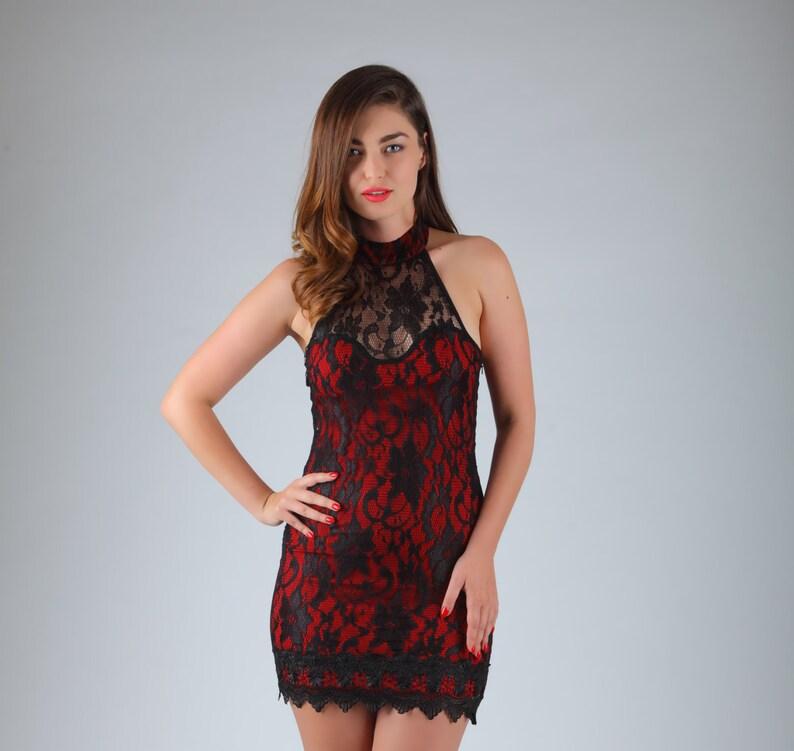 quality design 9fb58 c879e Abito corto Prom Dress, Abito da sera corto in pizzo, pizzo rosso, Borgogna  rosso Mini abito